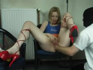 He fists her box while she rubs her clit