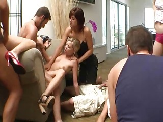 Big orgy just seems to follow this girls wherever