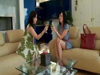 Two brunette MILF's in hot foursome sucking and fucking the salesman's cocks