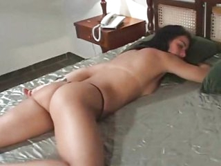 Black haired Latin girl gets both holes drilled