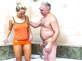 Hot Blonde Sucks and Fucks an Older Man's Small Dick