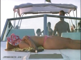 Dominique Swain Sunbathing On a Boat
