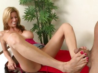 Raunchy Alexis Fawx tosses off this dick with her toes