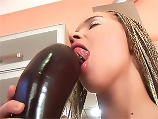 Horny Blonde Teen Masturbating With A Big Eggplant