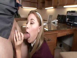 Schoolgirl in his office slammed hard