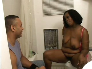 Hot Ebony Fattie Dimples Gets Her Pussy Shaved and Her Face Jizzed On