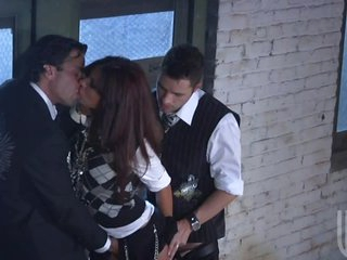 Sexy Schoolgirl Gets Fucked In A Threesome