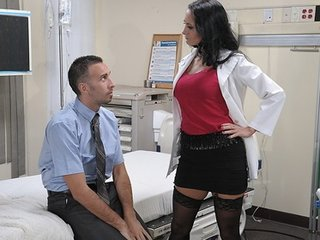 Big-tit brunette slut doctor Ava Addams rides patient's dick anal