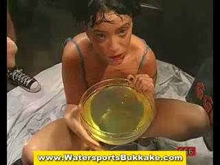 Golden shower piss and cum bukkake