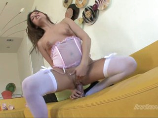 Ashlynn Leigh brunette babe sitting on big dildo