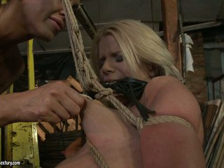 Mandy Bright tied a hot blonde with rope