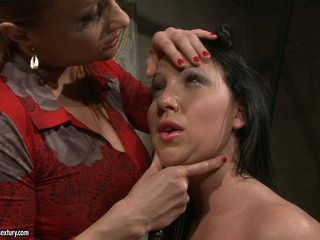 Katy Borman looking at the eyes of her naked slave
