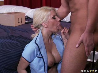 Cock starved Jazy Berlin fills her lusty mouth with a lucky man's sausage