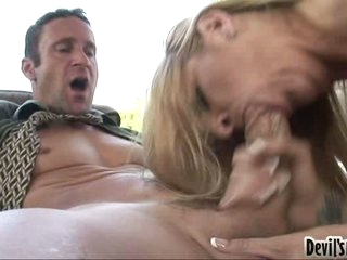 Robbye Bentley gives the lucky stud a wild messy blow on the cock