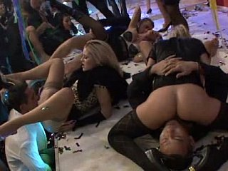 Hot European Party. Stylish pussies fucking in clothes