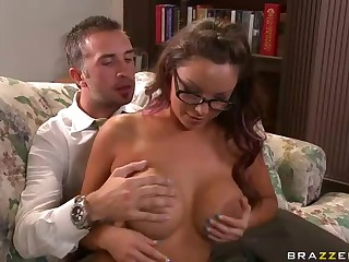 Keiran Lee's pocket rocket in his pants is ready for explosion when he puts his hands on huge bare boobs of fascinating four-eyed teacher Danni Cole. They are alone and nothing can stop him from fucking her dream pussy.