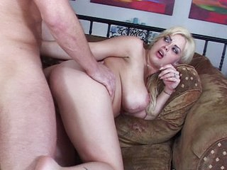 Busty blond pussy filled with cum