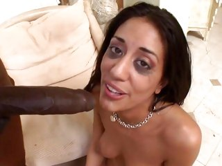 Naughty Layla Storm is splattered in dick cream