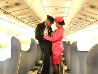 Stewardess Valentina Velasques is threesomed onboard
