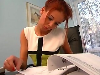 Slutty red head fucked on office desk!