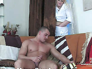 Golden-Haired mommy spying on a wanking stud in advance of mad butt fisting and dicking