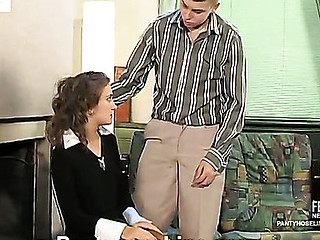 Sexy sec in tan hose giving jaw-breaking pantyhosejob previous to doggystyle fuck
