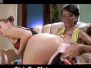 Sassy lass in raunchy red nylons brings a dong to entice a shy mommy