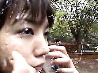 The model in this movie endures public outdoor bukkake and gets fucked.