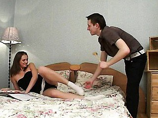 Lustful fellow easily seduces neat hot girl in the bedroom