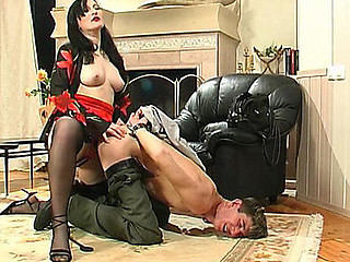 Horny guy not quite moaning with pleasure in strap-on fucking with red sexy gal