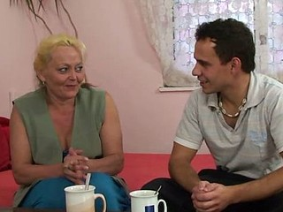 Lusty granny brought home for sex