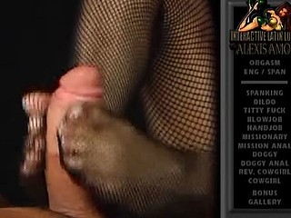 Hot Latina babe Alexis Amore gives a footjob with her feet in fishnets