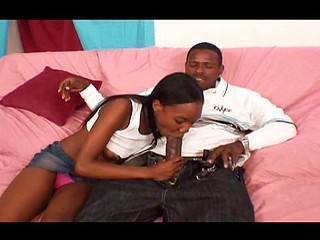 Ebony blows him to get hard and then rides on his stiff rod
