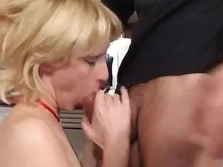 Skinny blonde blows him and gets drilled in the ass in the kitchen