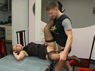 Lascivious playgirl satisfying guy