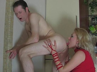 On fooling with a strap-on dude strips undressed giving his a-hole to his mistress