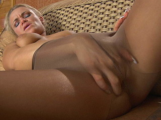 Heated golden-haired drinks champagne and fingers her bawdy cleft thru soft brown tights