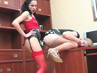 Sexy sissy guy falling a martyr of strap-on armed sweetheart