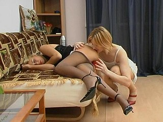 Filthy chick pulling down hottie