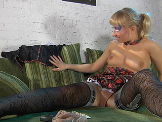 Blond breasty chick looks smoking sexy in her exclusive patterned nylons