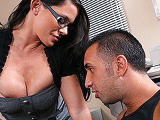Principal Stern gets Keiran, a popular troublemaker, into her office to suggest him diplomacy, passing grades, extended lunches, etc in exchange for him to keep the peace in the school until the superintendent leaves. Keiran is not satisfied with the suggest, that guy needs to play with the sexy principal's whoppers, as that babe is in a bad situation that babe gives in to his demands and starts enjoying herself till the superintendent cums in.