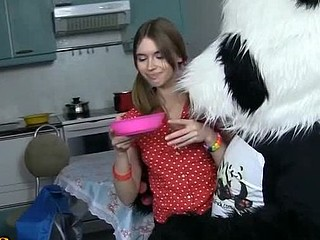 What's a beauty supposed to do if her ally's hungry, but that babe can't cook? Almost Any chicks order pizza, but this breasty teenage found a more good way out! That Babe decided to make her furry ally forget about food, but how? Hmm, sex with toys right in the kitchen sounds just perfect! Turned out her ally, a panda bear, was sex-hungry as well! This Guy eagerly let the chick engulf his impressive sextoy strap on, and then stuffed her dripping bawdy cleft with it. Oh, that awesome gigant vibrator of his brought the cutie to cloud nine!