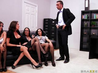 Watch these four hot brunettes fighting for a promotion and each one is hotter than the other. Look how one of them starts sucking his hard cock in front of the rest but no one is left begin. See how all those four hot sluts suck on their bosses cock. Who will be the lucky one to get the job?