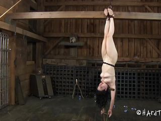 What happened in this barn stays inside it and Dixon knows that. Well, we get to see her in that position but who cares, she's tied up and way to busy getting dildo fucked and humiliated so sit back, relax and enjoy it. The slutty brunette is being humiliated just the way she likes and we love to see her that way!