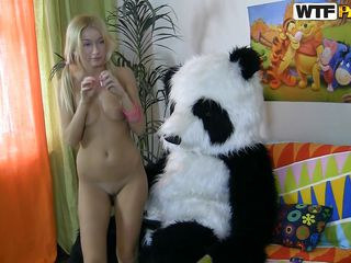 Sally loves the Panda bear, he was always there for her to give her that fluffy feelings and his big hard cock. Now she's naked and doesn't needs a hug, she just needs a hard fuck. She rides him with her tight pussy and then bends over for a deeper more rougher fuck. Would you like to see more of them?