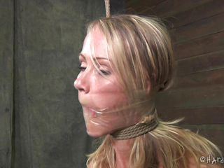 I told Simone that she better be a good little bitch or she'd get it. Well, she wasn't good so look at her now. I wrapped her mouth to shut her up, then teased and degraded her. A few whacks on the tits with a ruler should straighten her out. She'd better eat my pussy right or she'll get it worse.