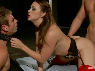 Look what we've here! A hot brunette pornstar with two guys dominated by her. Her name is Chanel Preston and she knows how to treat these pathetic guys. She puts chastity belt on one of the guy's cock and sitting on his face for orgasm pleasure. While the other one is fucking her from behind.