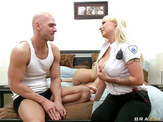 Watch this blonde slut with her huge round tits in uniform getting undressed and then licked on her tits by this bald horny dude. This slut loves his tongue on her nipples and hopes that after he will finish licking her melons he will take out his cock and fuck her between those hot round tits cumming all over her. She loves getting a cock in her mouth and then getting sperm on her breasts