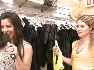 Things are starting to get very interesting for these cunts in that clothes store. Looking for some clothes these bitches found a hot and horny brunette sucking a naked white dude. She giving him such a lustful head that makes the other bitches drool, the question is, will they join her and share that dick?