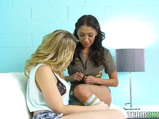 Ain't I'm lucky to have such beauties in front of my dick? I mean look at them, at least I filmed these horny babes to show you guys how slutty they are. The blonde likes my cock and the brunette seems to be more preoccupied with some lesbian love. I'm about to have a lot of fun with these babes, join us!